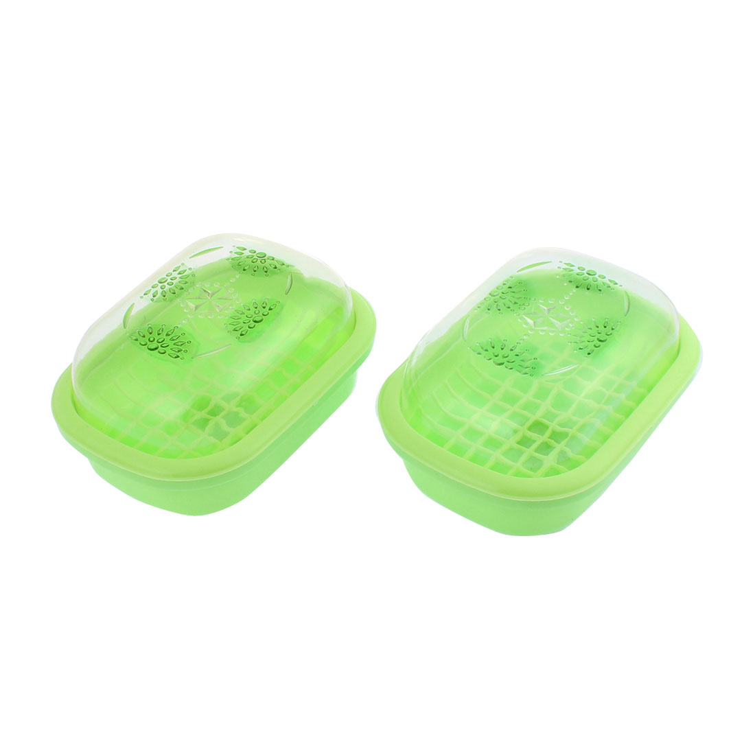 Home Plastic Rhinestone Pattern Dual Layer Soap Dish Case Holder Green 2 Pcs