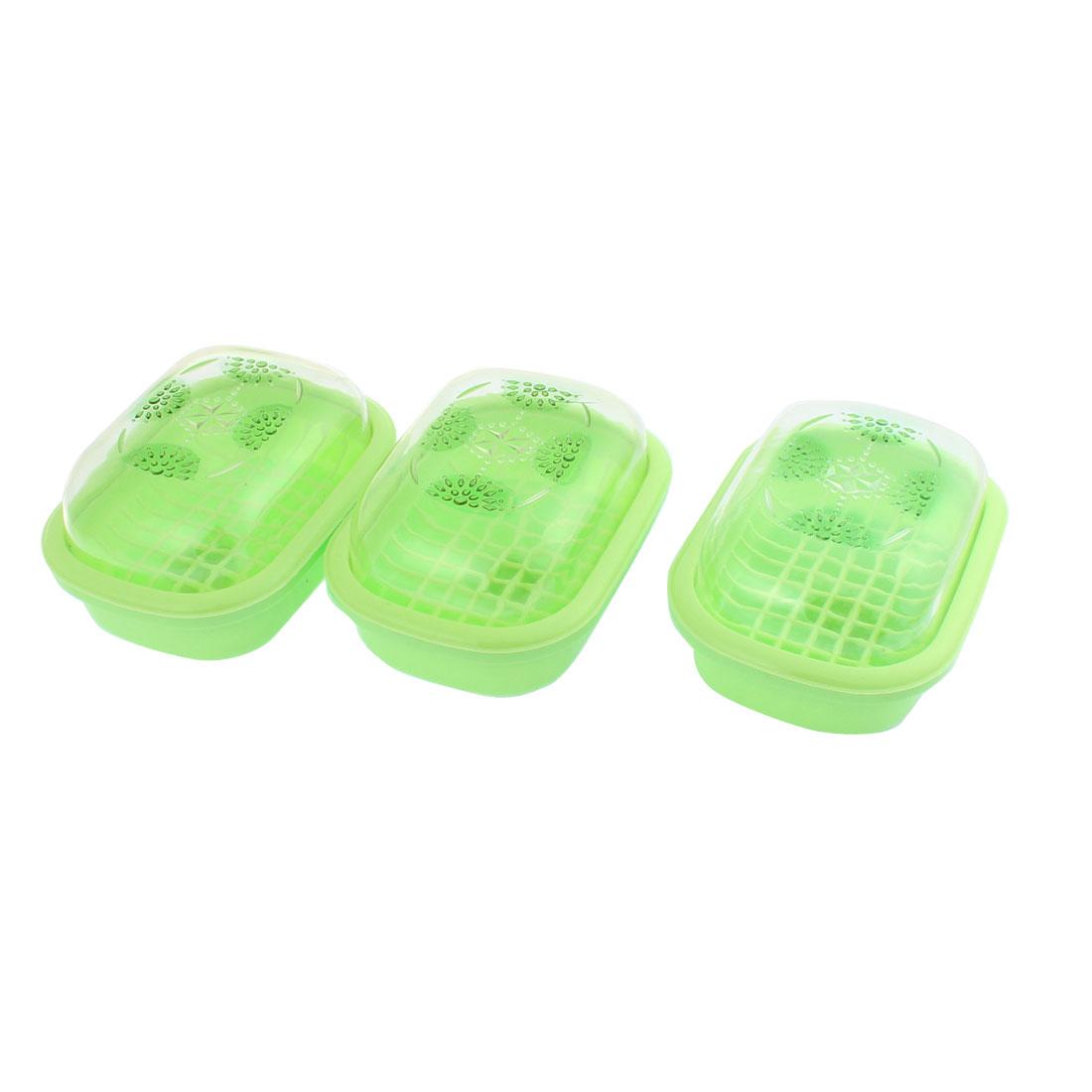 Plastic Rhinestone Pattern Dual Layer Soap Dish Case Holder Green 3 Pcs