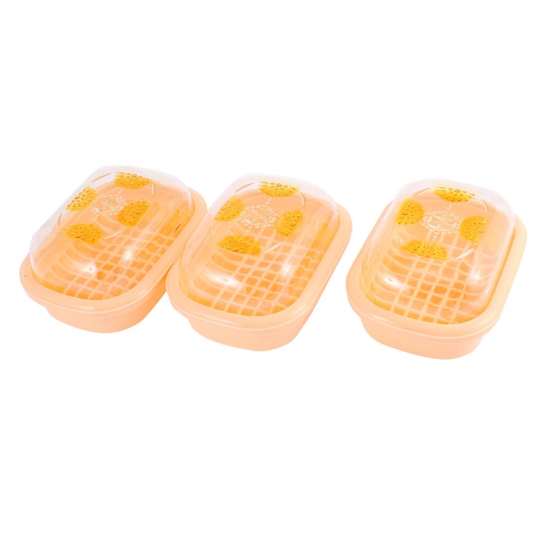 Bathroom Plastic Rhinestone Pattern Dual Layer Soap Dish Case Holder Orange 3pcs