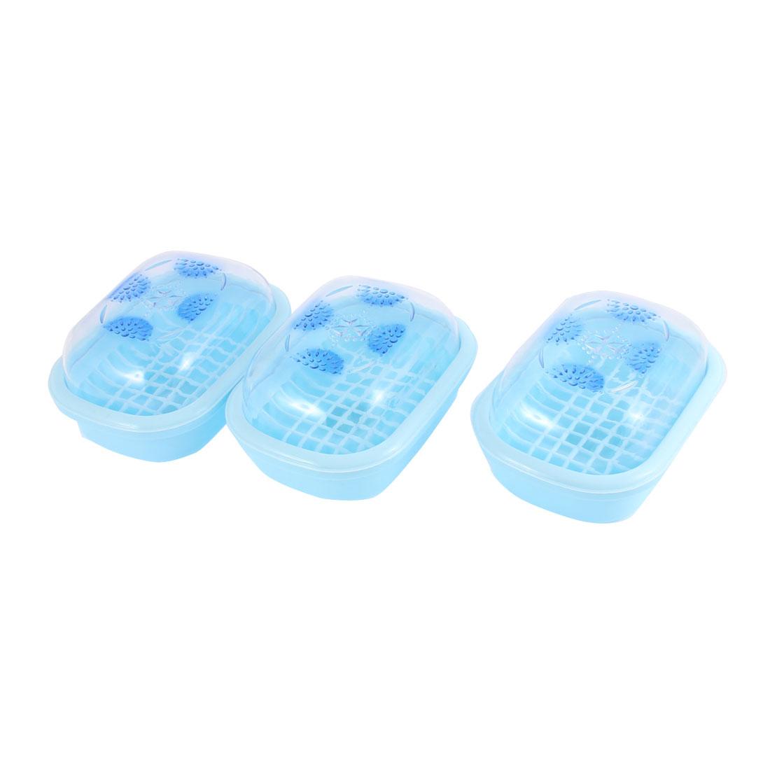 Washroom Plastic Rhinestone Pattern Dual Layer Soap Dish Case Holder Blue 3 Pcs