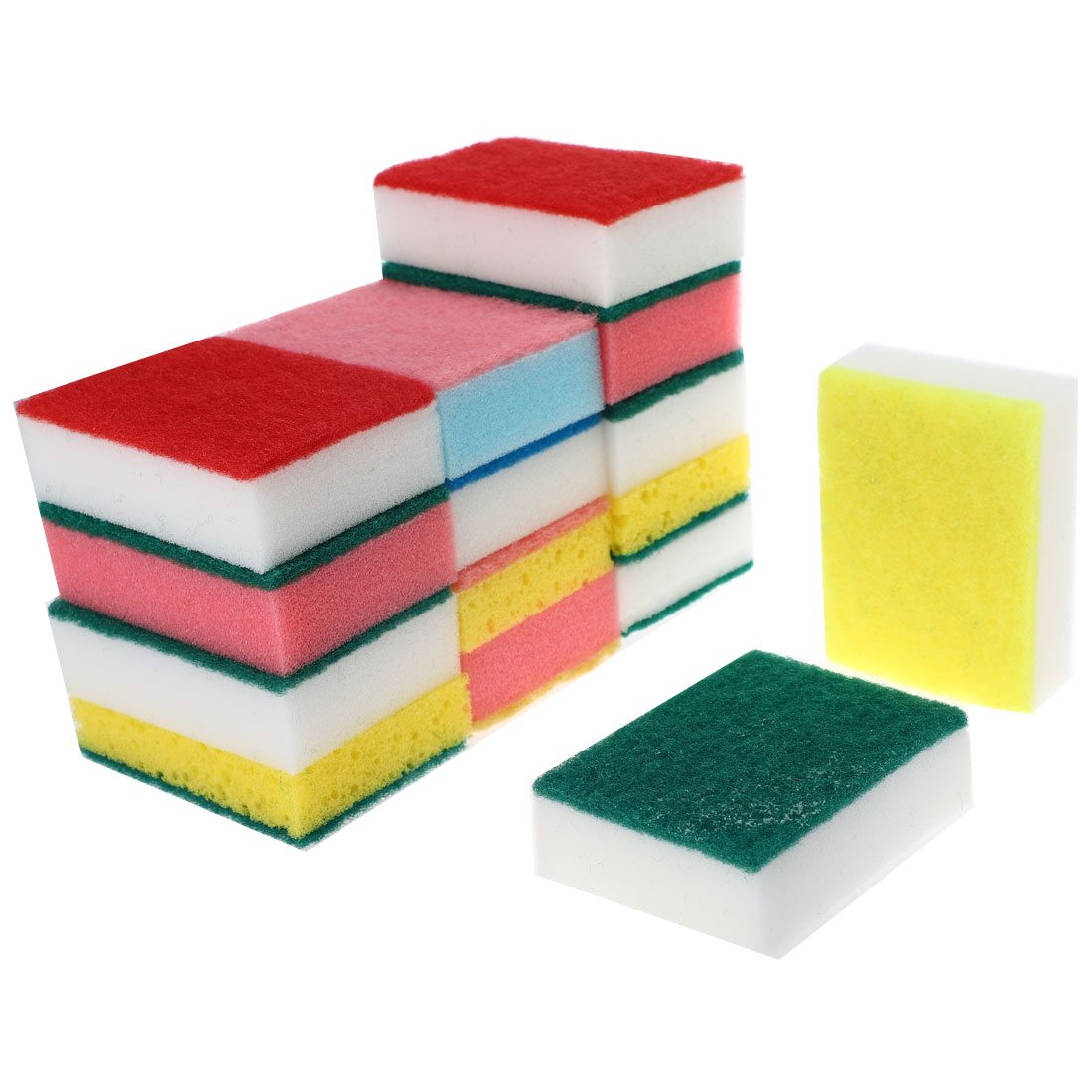 Kitchen Sponge Rectangle Bowl Dish Cleaning Pad Assorted Color 15 Pcs