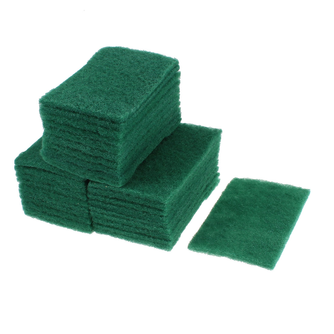 Sponge Rectangle Bowl Dish Wash Cleaning Pad 145mm x 97mm Green 30pcs