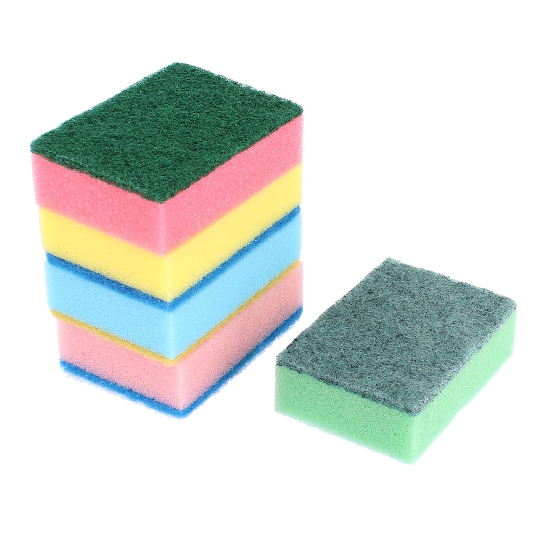 Household Sponge Bowl Dish Wash Cleaning Pad Assorted Color 5 Pcs