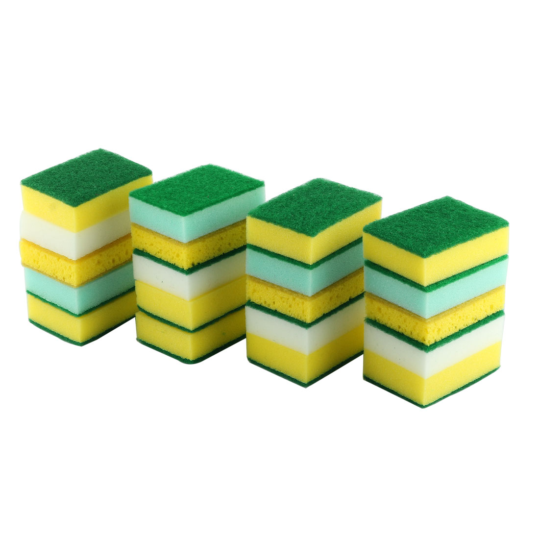 Home Sponge Rectangle Bowl Dish Wash Cleaning Pad Assorted Color 20pcs