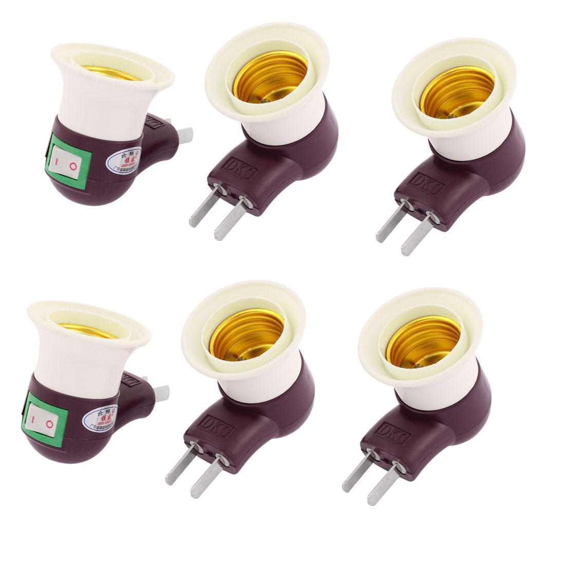 AU US Plug On/Off E27 Screw Light Bulb Base Lamp Holder Socket Adapter 6 Pcs