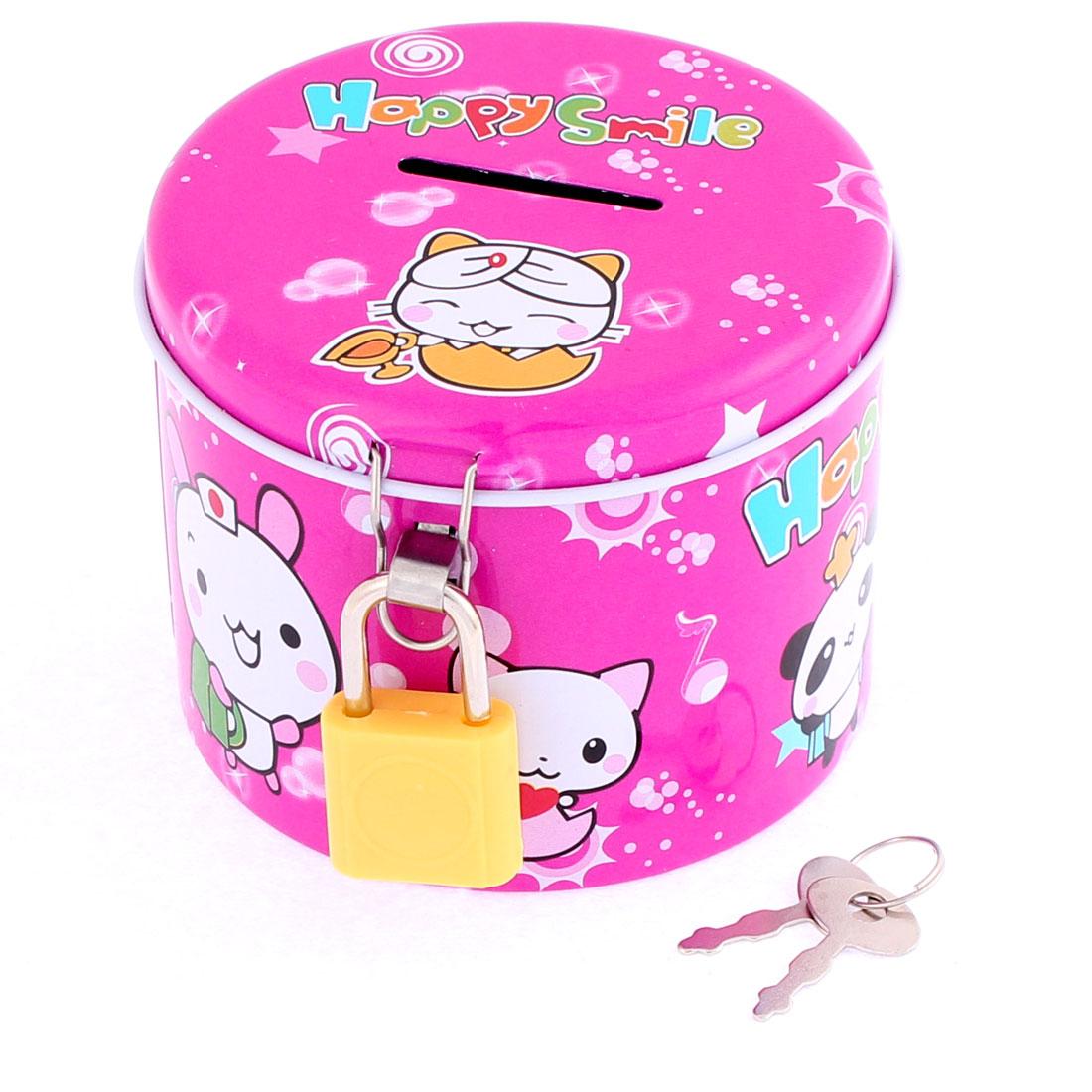 Metal Round Shape Cartoon Animal Pattern Piggy Bank Money Saving Box 3 Inch Dia Fuchsia