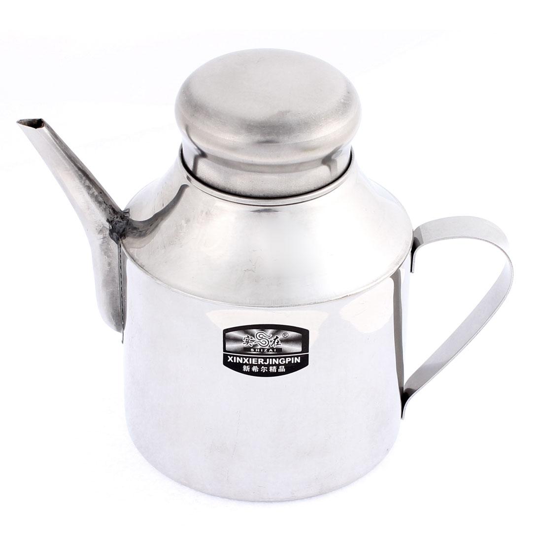 Kitchen Stainless Steel Lidded Shanked Oil Vinegar Sauce Pot 24oz 2 Pcs