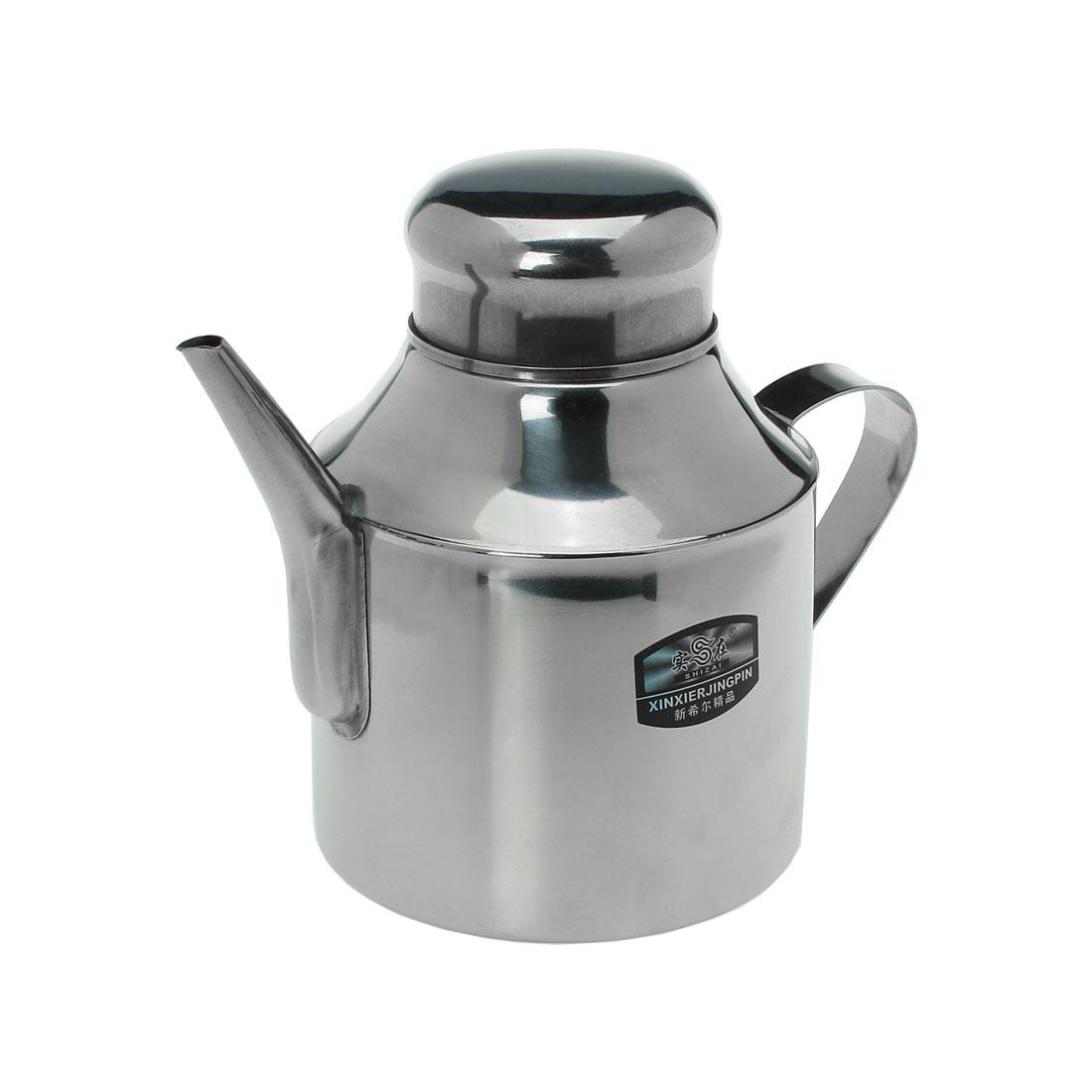 Household Stainless Steel Lidded Shanked Oil Vinegar Sauce Pot 24oz
