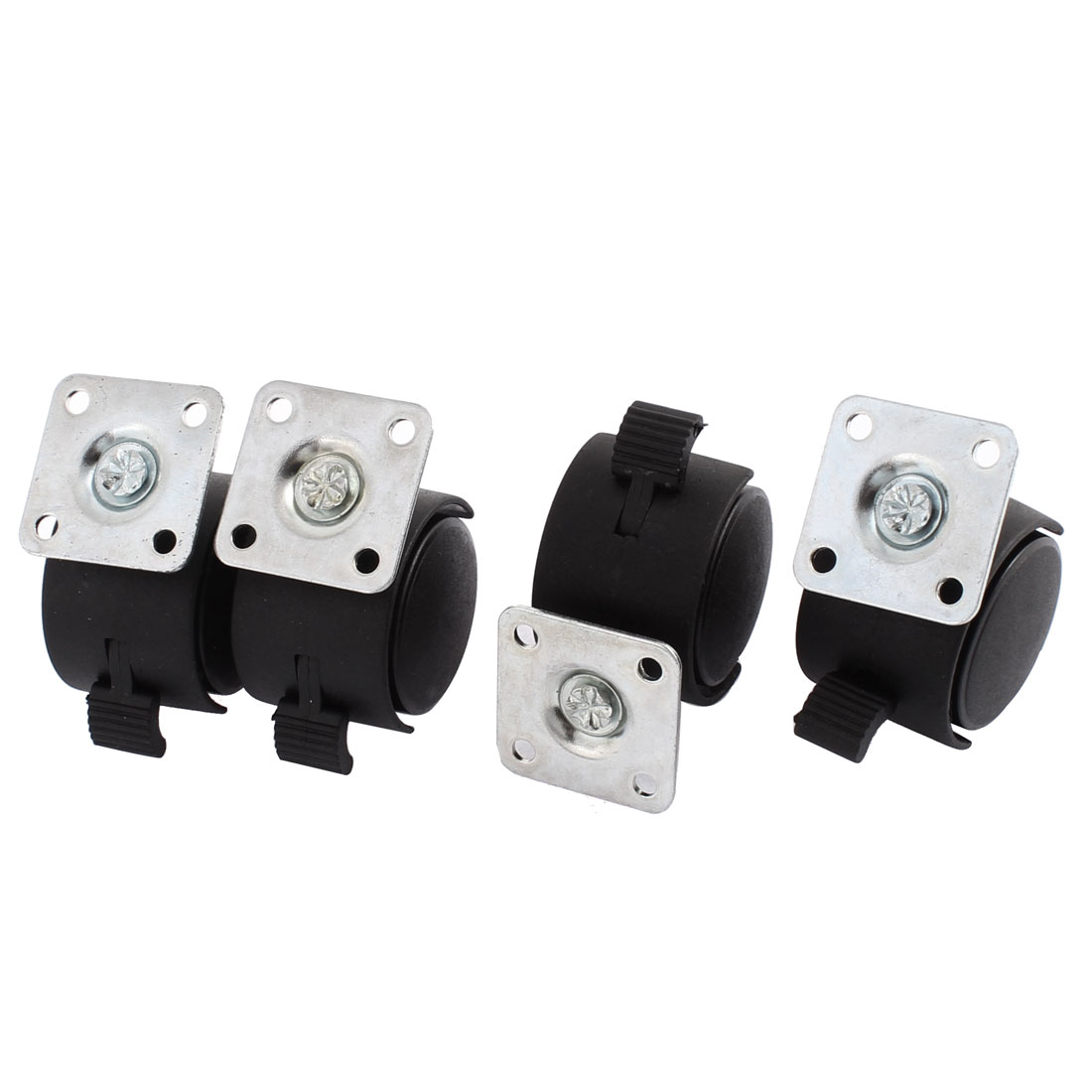 Chair 1.5 Inch Dia Wheel Square Top Plate Mount Swivel Brake Caster 4 Pcs