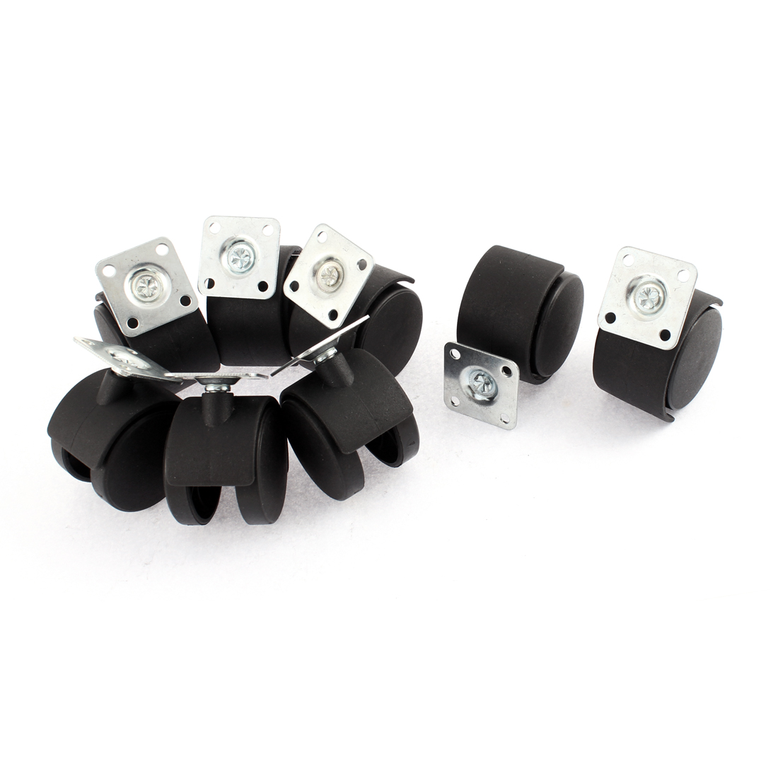 Office Chair 2 Inch Dia Wheel Square Plate Mount Swivel Caster 8 Pcs