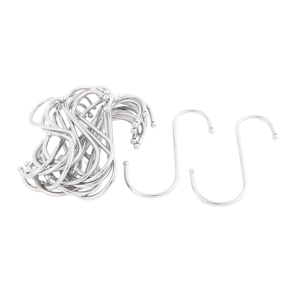 Bathroom Stainless Steel S Shaped Hanger Clasp Hooks 3 Inch Length 30 Pcs