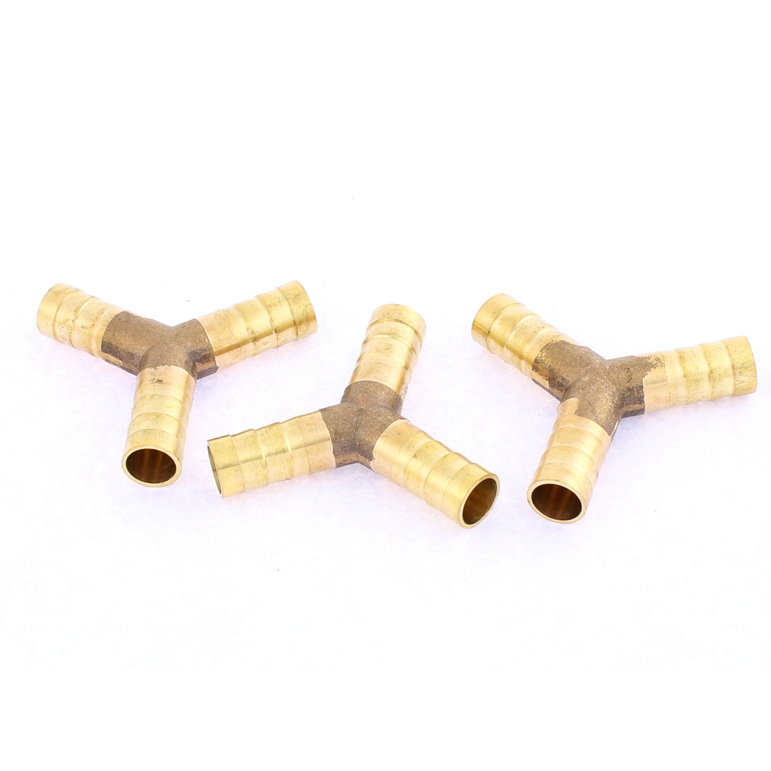 Brass Y Shape 3 Way Hose Barb Coupler Connector 10mm Dia 3 Pcs