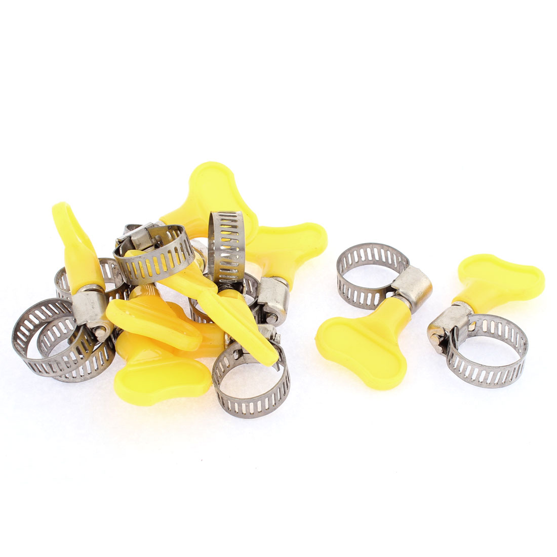 9-16mm Range Band Stainless Steel Worm Gear Fuel Line Hose Clamps 10 Pcs
