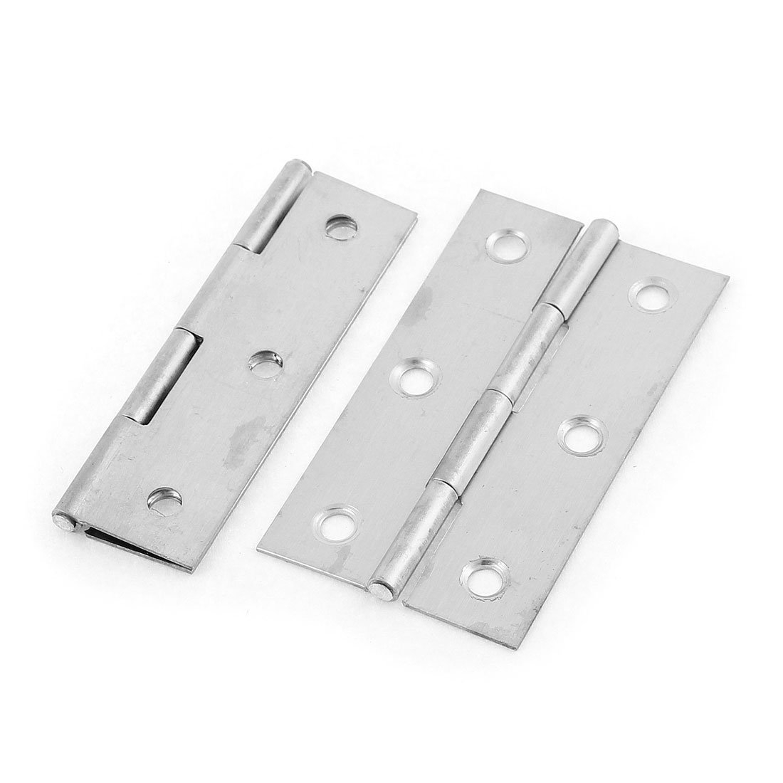 2 Pcs 66mmx39mm Stainless Steel Foldable Closet Cabinet Door Butt Hinge
