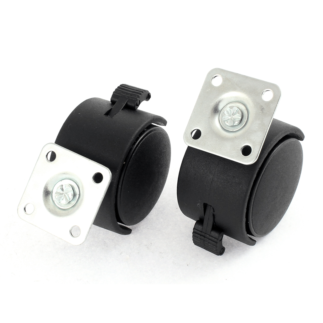 "Furniture Square Top Plate Mount 2"" Dia Wheel Swivel Brake Caster 2 Pcs"