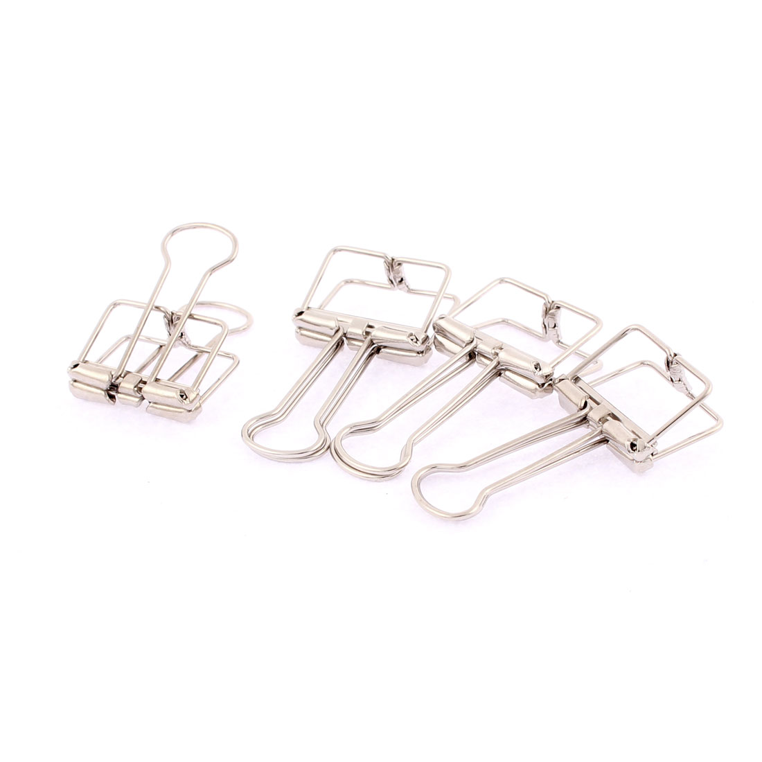 Silver Tone Metal 19mm Width Wire Binder Clips 4 Pcs