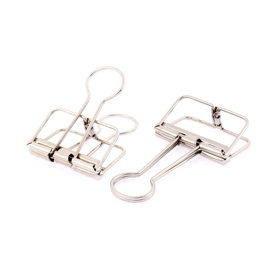 Silver Tone Metal 32mm Width Wire Binder Clips 2 Pcs