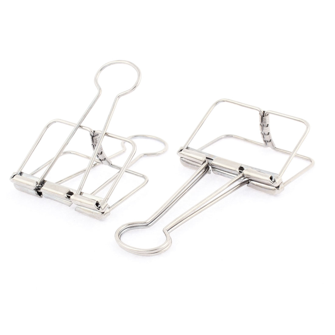 Silver Tone Metal 50mm Width Wire Binder Clip Clamps 2 Pcs