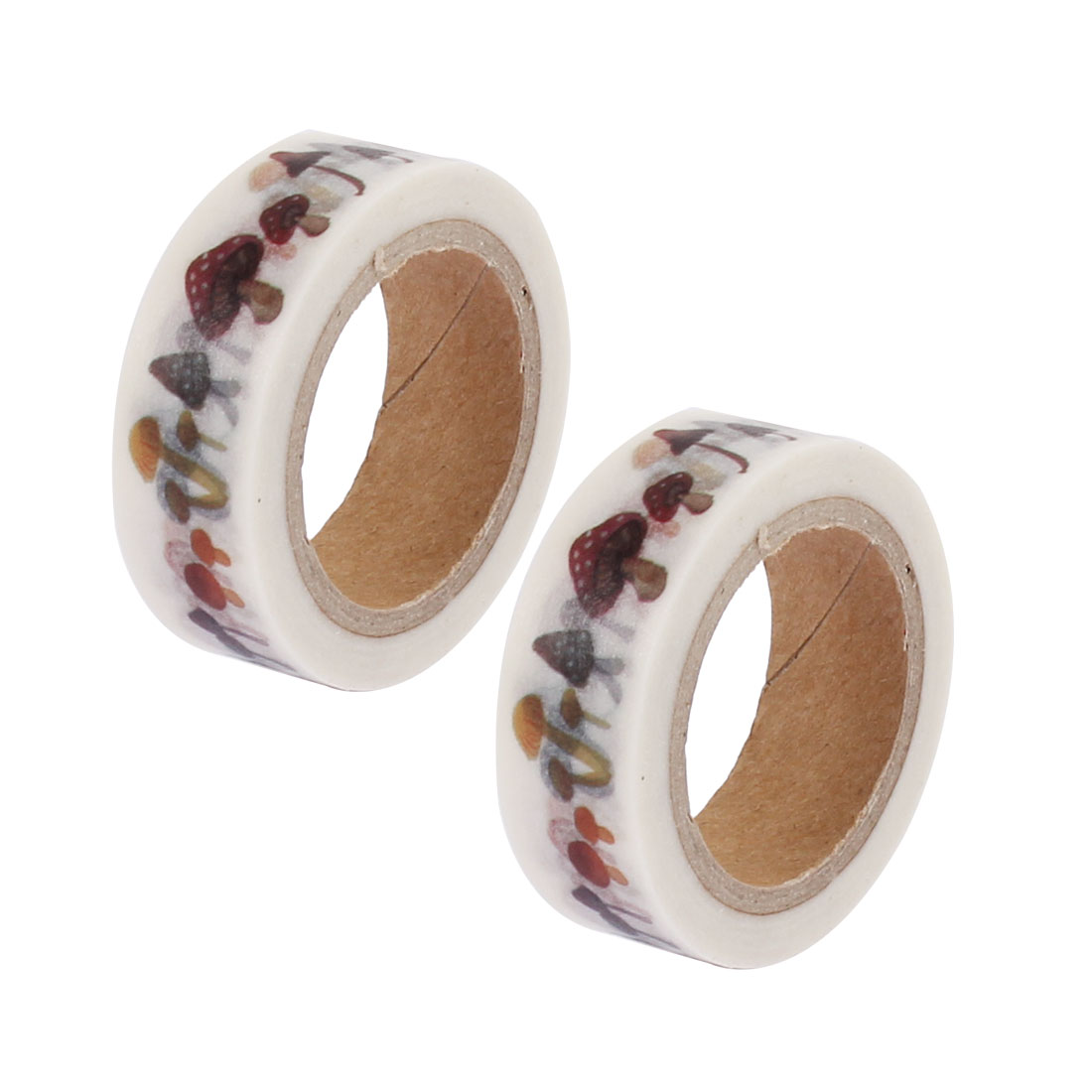 2 Pcs Mushroom Pattern Self Adhesive Decorative Tape Sellotape