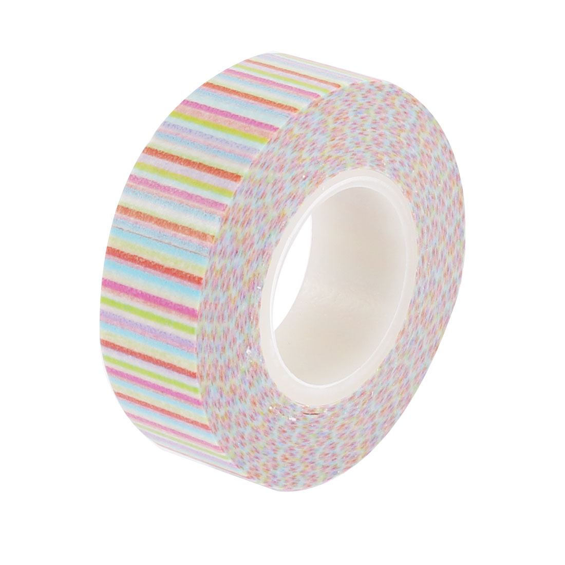 Multicolor Stripe Pattern Sticky Self Adhesive Decorative Tape Sellotape