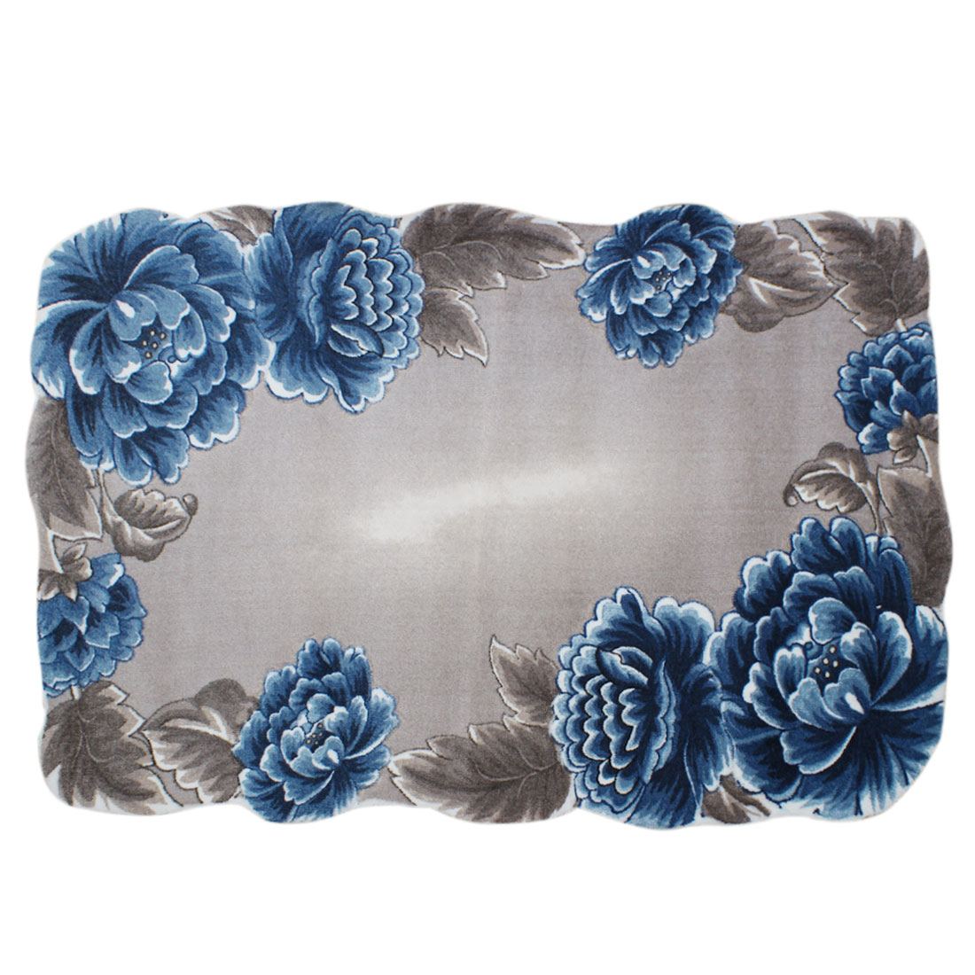 Cotton Blended Blue Floral Pattern Door Floor Mat Non-Slip Dirt Barrier Mats