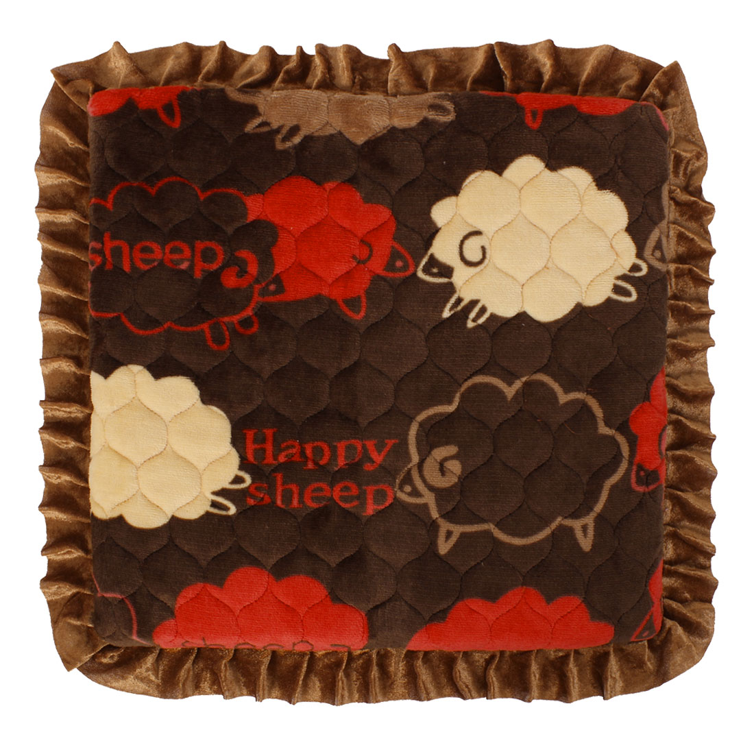 Home Kitchen Sheep Pattern Ruffled Chair Seat Cushion Pad