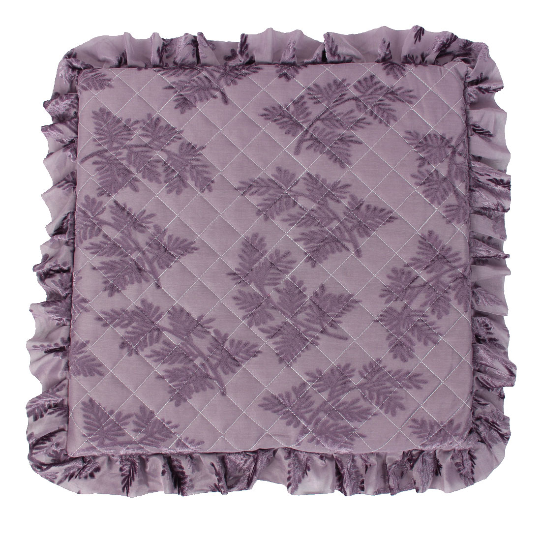 "Home Kitchen Ruffled Chair Seat Cushion Pad 16"" x 16"" Purple"