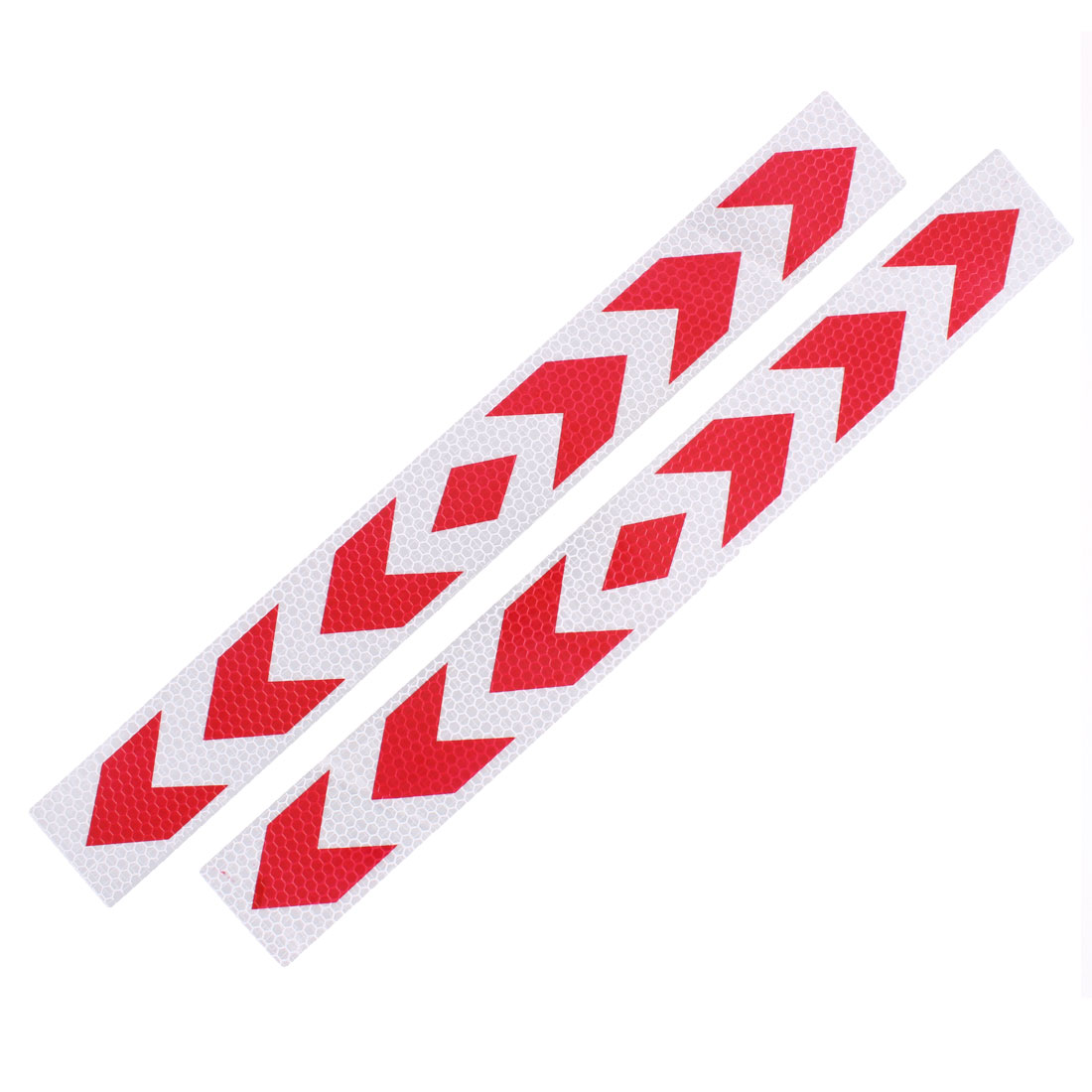 2 Pcs Arrows Printed Self Adhesive Type Car Reflective Warning Sign Sticker Tape Red White