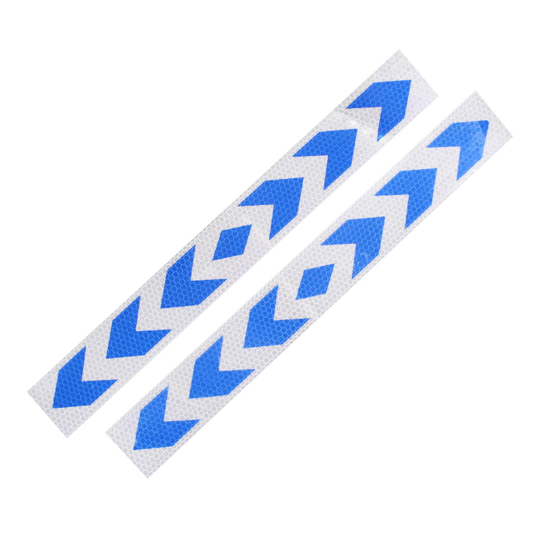 2 Pcs Arrows Printed Self Adhesive Type Car Reflective Warning Sign Sticker Tape Blue White
