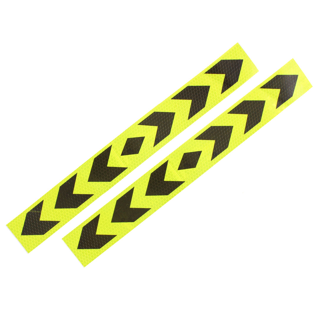 2 Pcs Arrows Printed Self Adhesive Type Car Reflective Warning Sign Sticker Tape Yellow Black