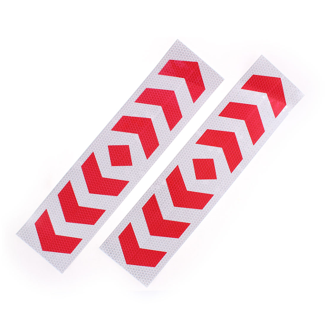 2 Pcs Self Adhesive Type Car Reflective Warning Sign Marking Sticker Tape Red White