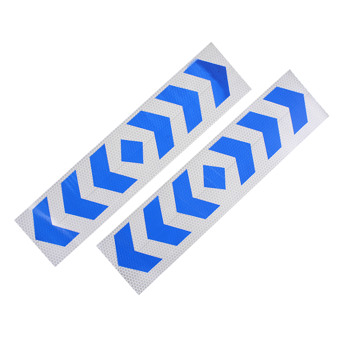 2 Pcs Self Adhesive Type Car Reflective Warning Sign Marking Sticker Tape White Blue