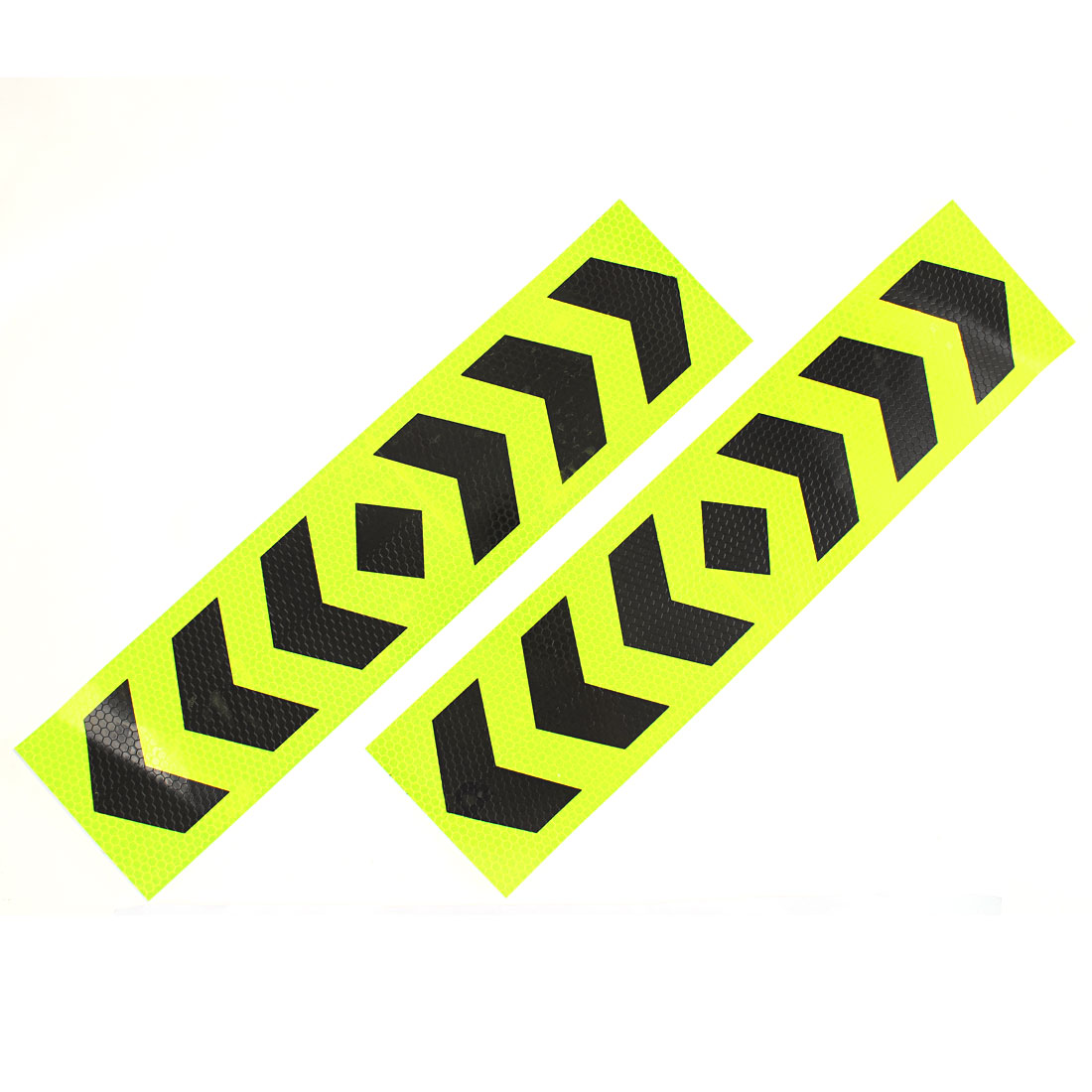 2 Pcs Self Adhesive Type Car Reflective Warning Sign Marking Sticker Tape Yellow Black