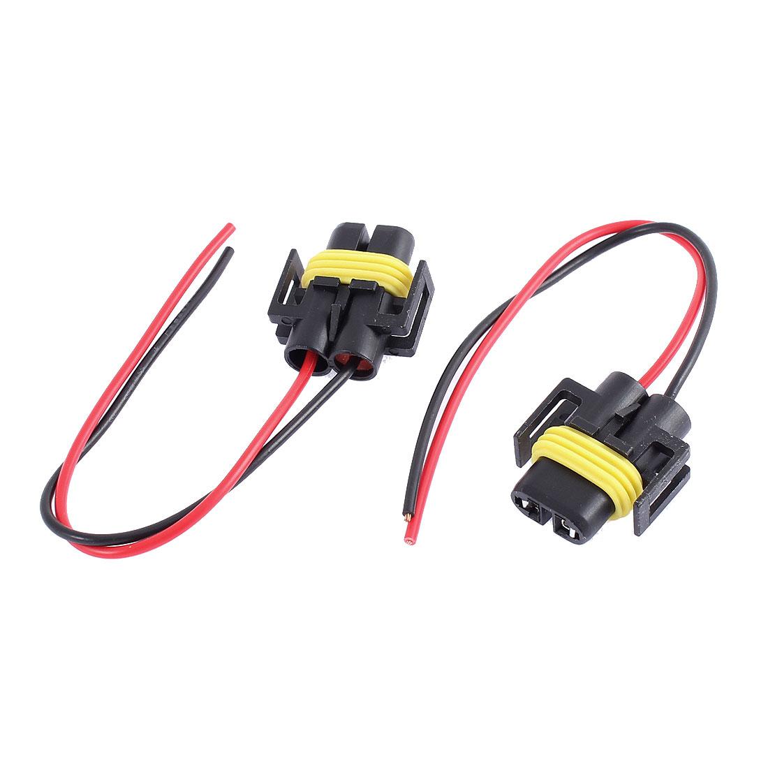 2 Pcs H11 Headlight Fog Light Connector Socket for Vehicle