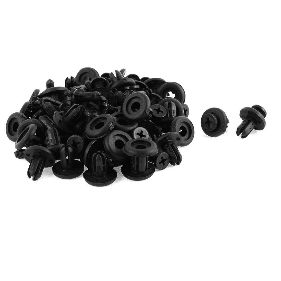50 Pcs Black Plastic Screw Rivet Push-Type Trim Panel Retainer Clips