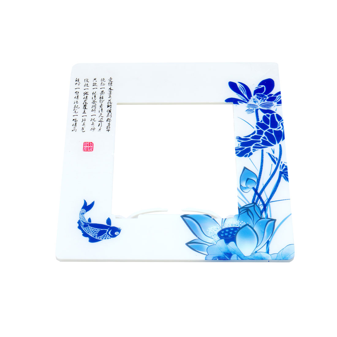 Lotus Fish Pattern Sticker Cover Socket Protector for 8.5 x 8.5cm Switch