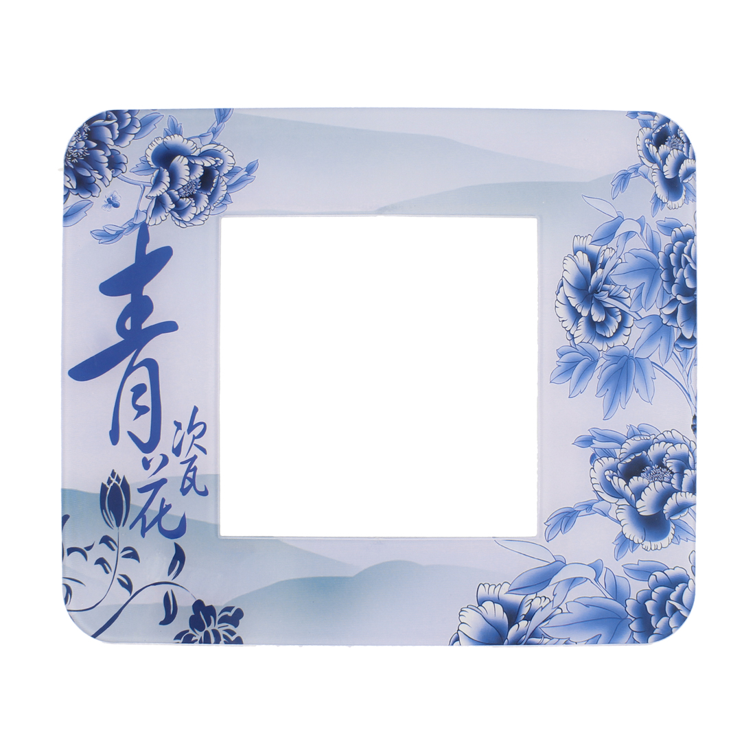 Flower Printed Light Switch Wall Stickers Cover Blue White
