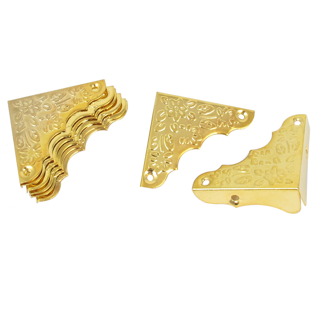 37mmx37mmx12mm Box Case Carved Corner Angle Brackets Protector Guard Gold Tone 8pcs