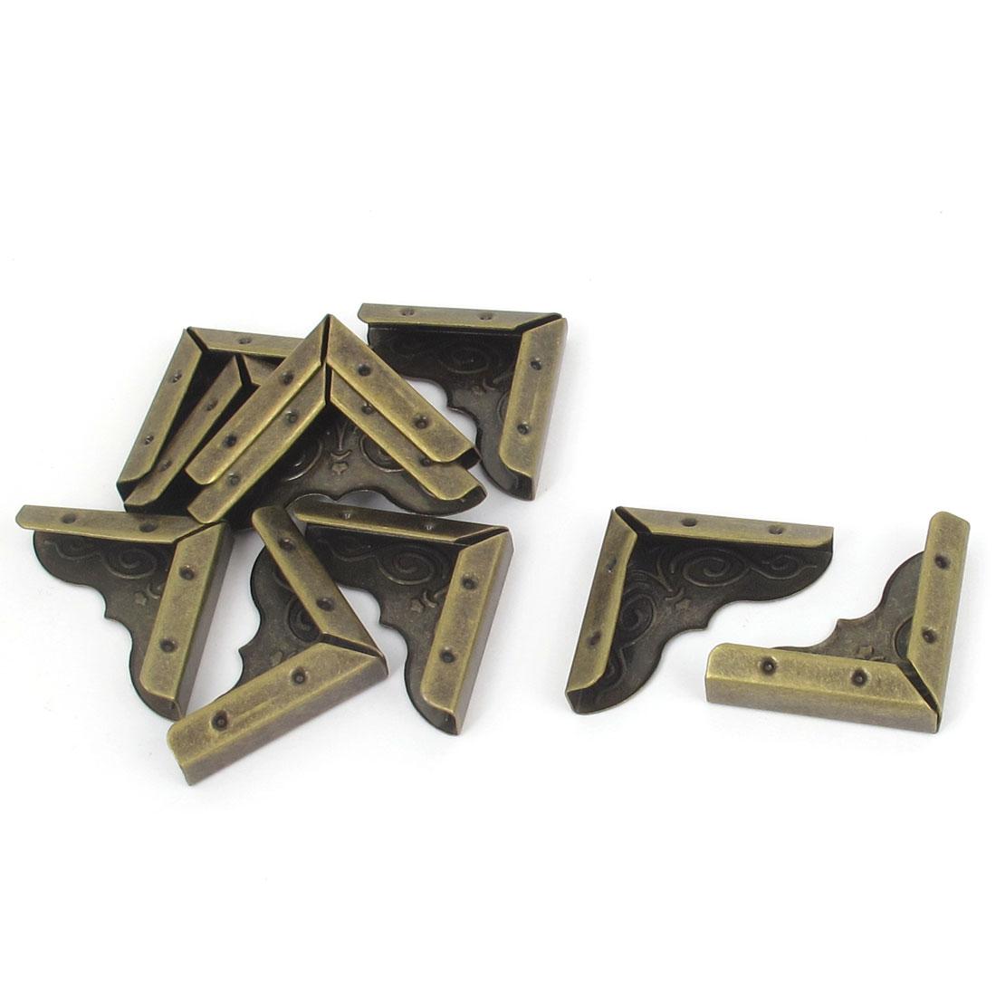 Vintage Style Flower Brim Metal Angle Bracket Braces Bronze Tone 10pcs