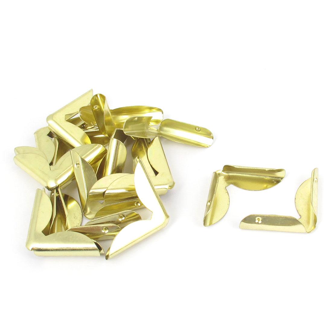 Book Corner Protector Metal Angle Bracket Braces Brass Tone 20pcs