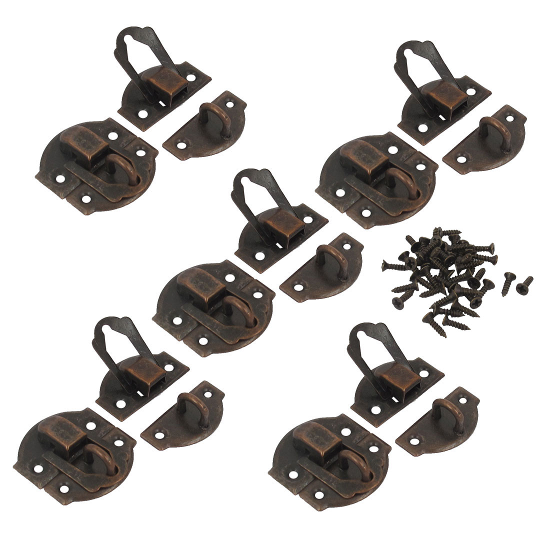 10 Pcs Vintage Style Wood Jewelry Box Latch Sets Case Hasp Lock Hook Bronze Tone w Screws