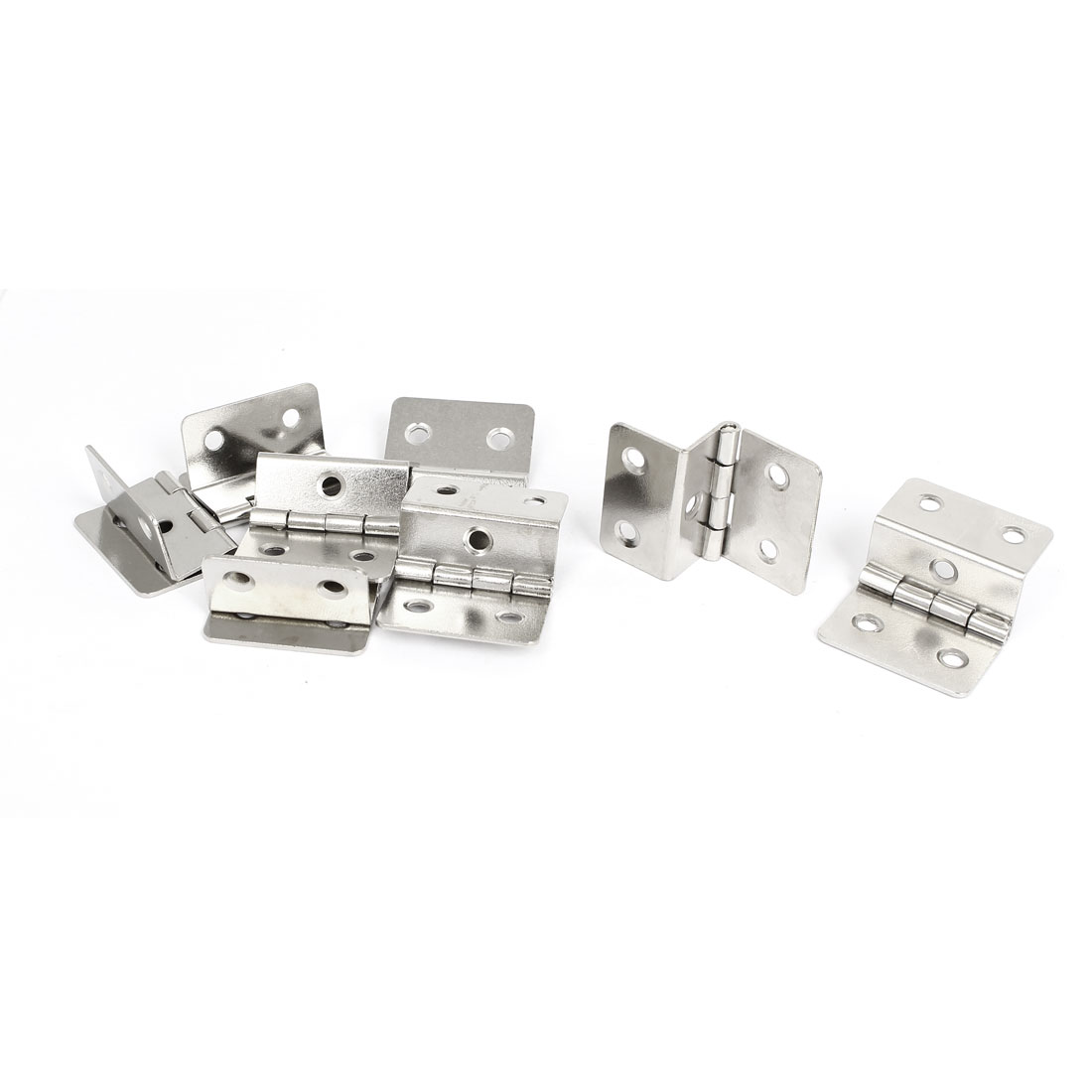 Furniture Cabinet Door 43mmx30mm Metal Folding Expandable Butt Hinge Silver Tone 8pcs