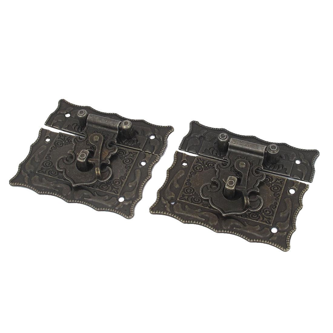 2 Sets Bronze Tone Rectangle Shape Antique Wooden Case Box Clasp Hasp Latch