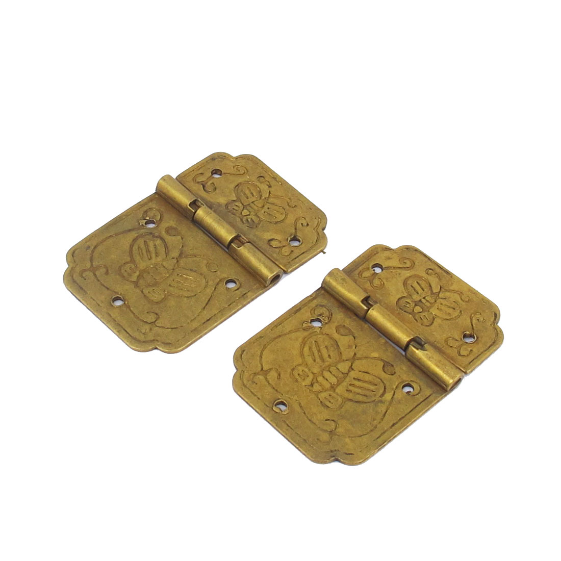 "1.3"" Length Jewelry Case Wooden Box Door Butt Hinges Hardware Yellow 2pcs"