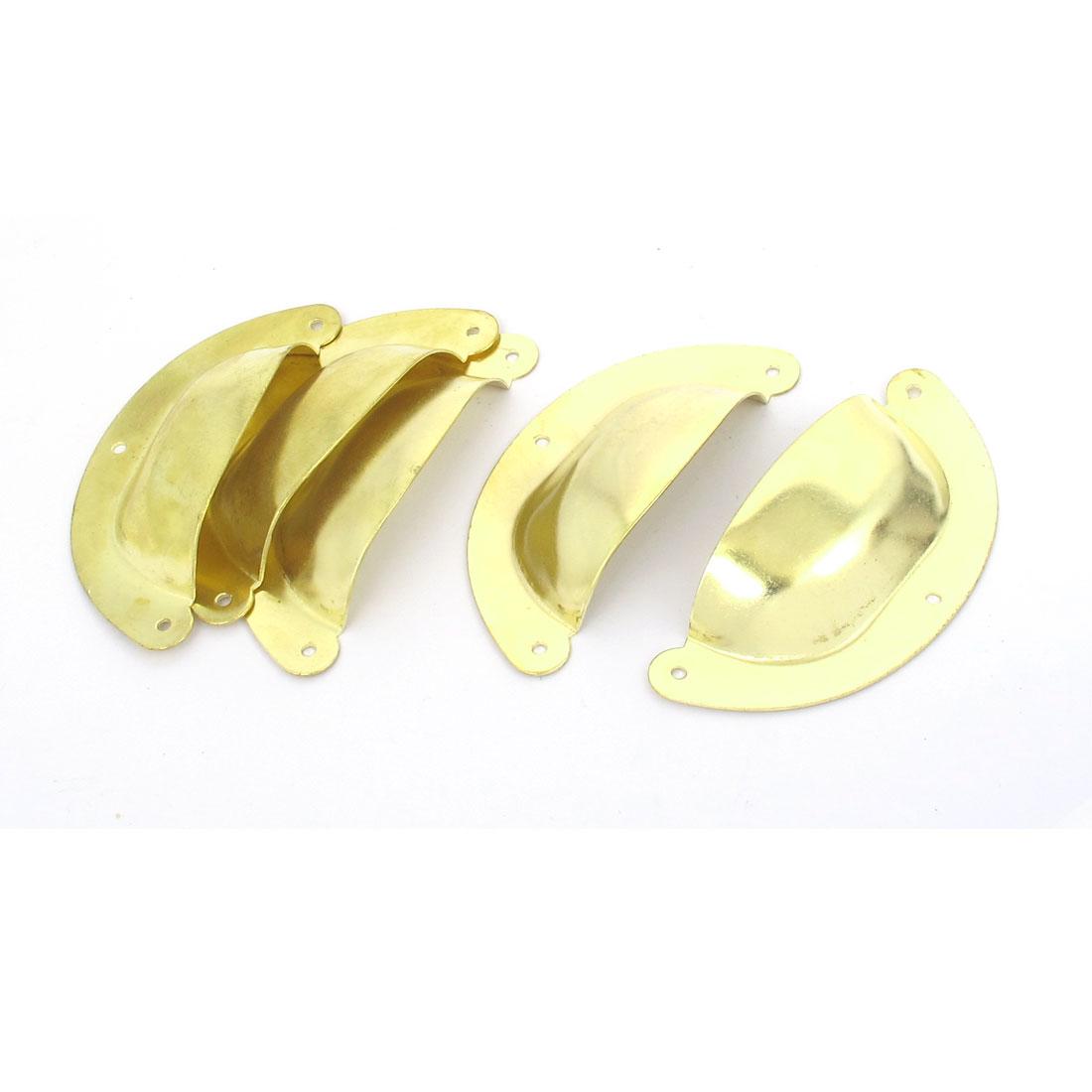 Home Shell Design Closet Drawer Dresser Door Pull Handle Gold Tone 5pcs