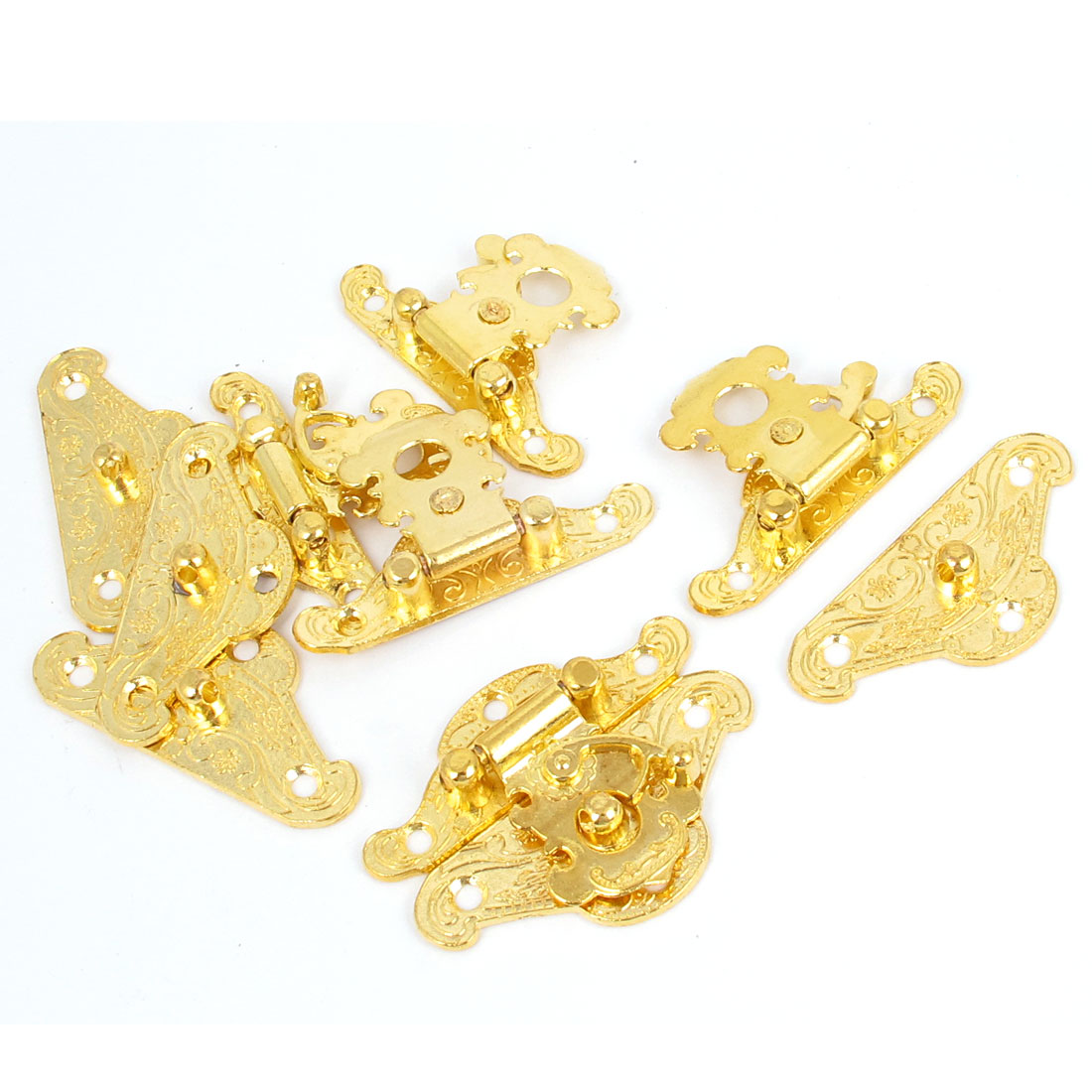 48mmx38mm Alloy Box Drawer Hasp Hook Lock Lid Latch Gold Tone 5pcs