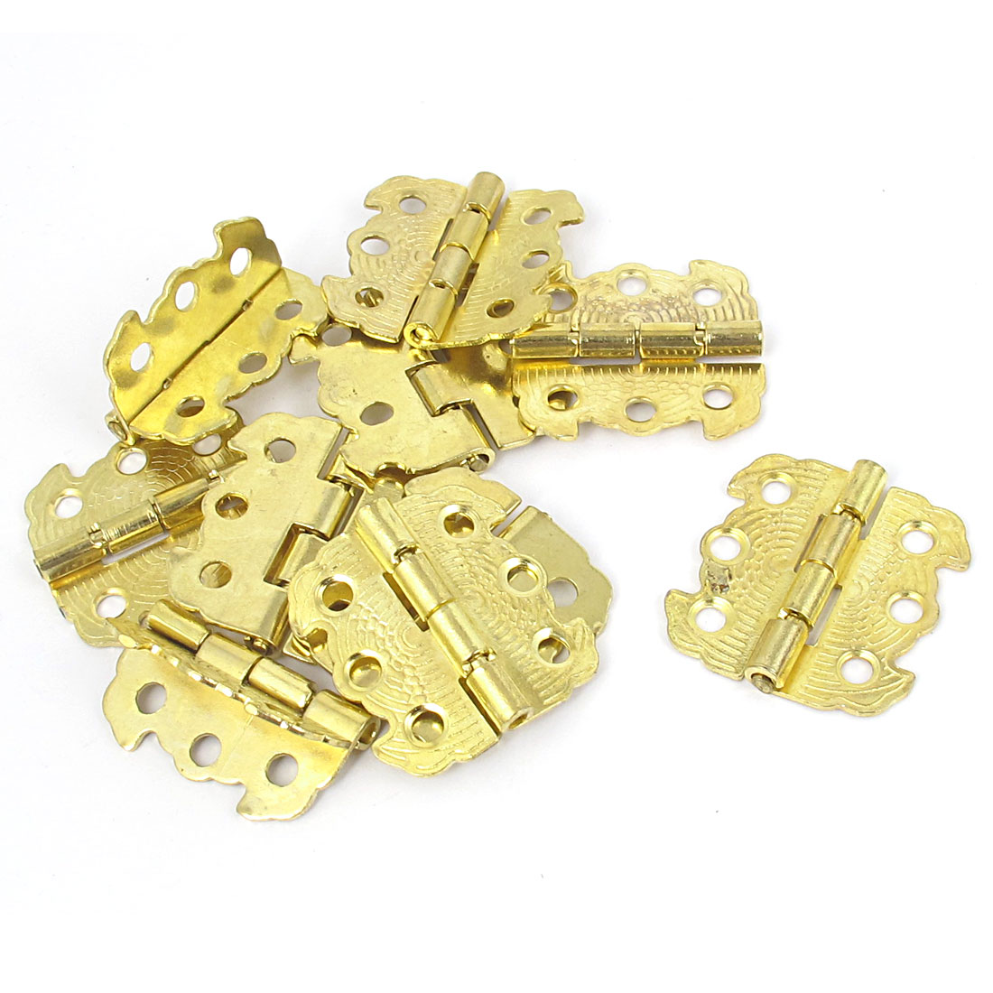 Cabinet Gate Closet Door Butterfly Shape 90 Degree Metal Butt Hinges Gold Tone 10pcs