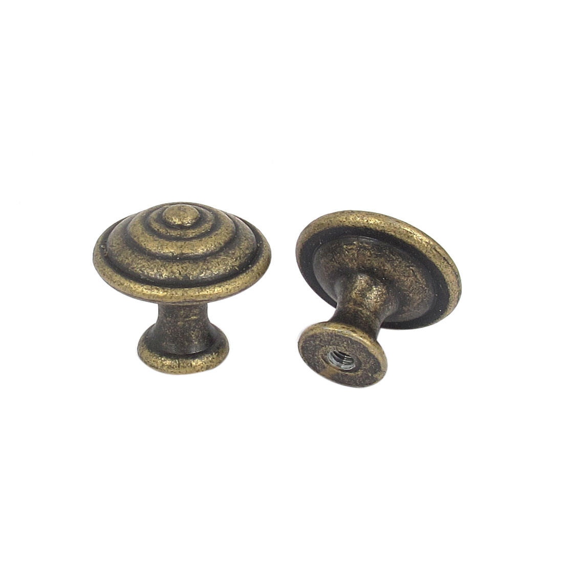 Cabinet Drawer Door Metal Mushroom Shaped Single Hole Pull Handles Bronze Tone 2Pcs