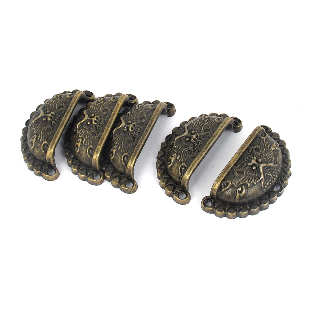 Wardrobe Cabinet Bin Retro Style Embossed Metal Door Pull Handle Knob Bronze Tone 5pcs