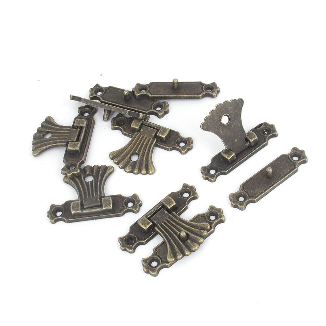 37mmx25mm Antique Style Wood Jewelry Box Drawer Decorative Hasp Lock Latch Bronze Tone 5 Pcs